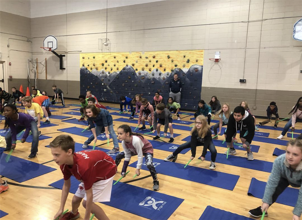 Students participating in Poundfit at P.E.